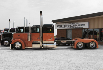 Orange and chrome custom semi truck